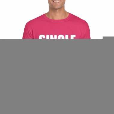 Goedkope single fun t shirt roze voor heren