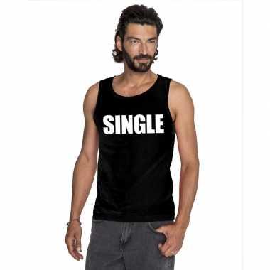 Goedkope single mouwloos shirt zwart voor heren