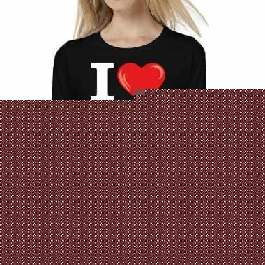Goedkope sixties long sleeve shirt met i love 60s bedrukking zwart vo