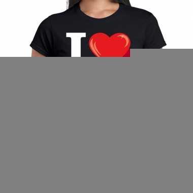 Goedkope sixties shirt met i love 60s bedrukking zwart voor dames