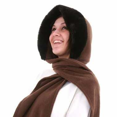 Goedkope sjaalmuts met bontrand voor dames beige