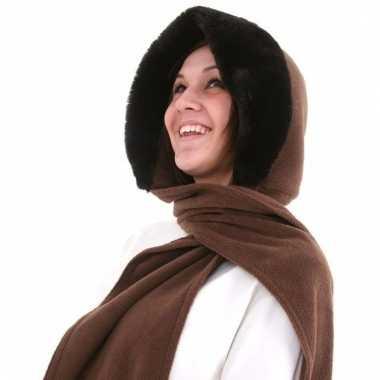 Goedkope sjaalmuts met bontrand voor dames bruin