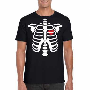 Goedkope skelet halloween t shirt zwart voor heren