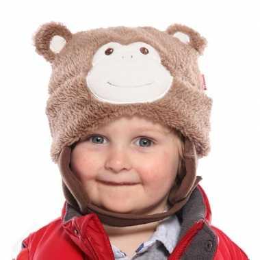 Goedkope ski muts voor kinderen apenkop lichtbruin maat 44