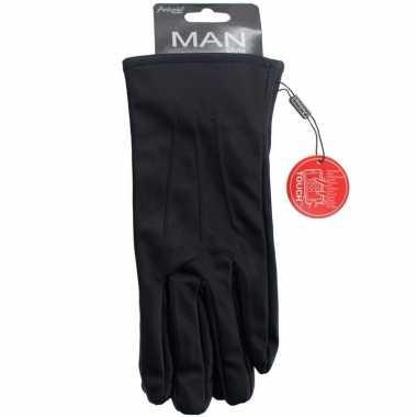 Goedkope smartphone handschoenen zwart imitatieleer voor heren