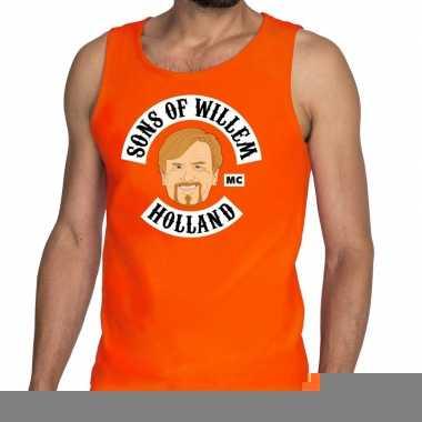 Goedkope sons of willem tanktop / mouwloos shirt oranje heren