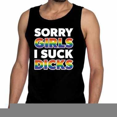 Goedkope sorry girls i suck dicks gay pride tekst/fun shirt zwart her
