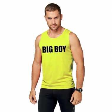 Goedkope sport shirt met tekst big boy neon geel heren