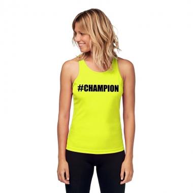 Goedkope sport shirt met tekst #champion neon geel dames