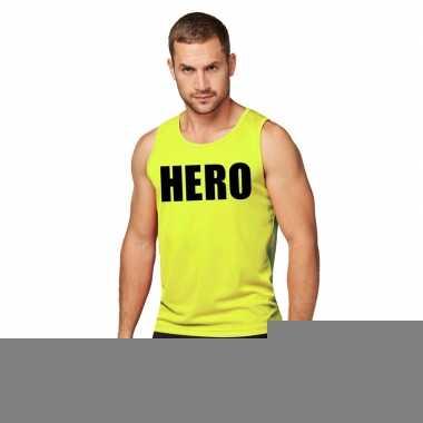 Goedkope sport shirt met tekst hero neon geel heren