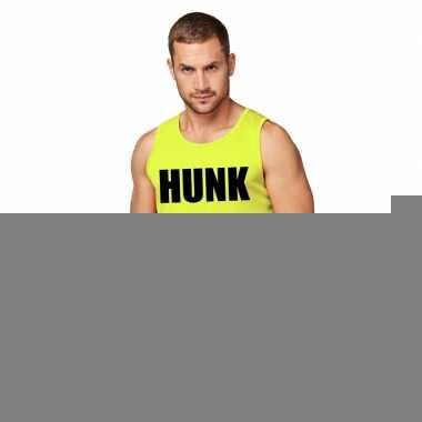 Goedkope sport shirt met tekst hunk neon geel heren