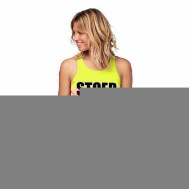 Goedkope sport shirt met tekst stoer neon geel dames