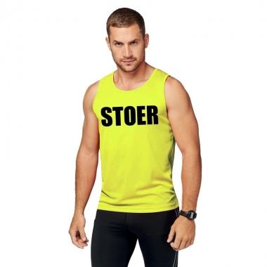 Goedkope sport shirt met tekst stoer neon geel heren