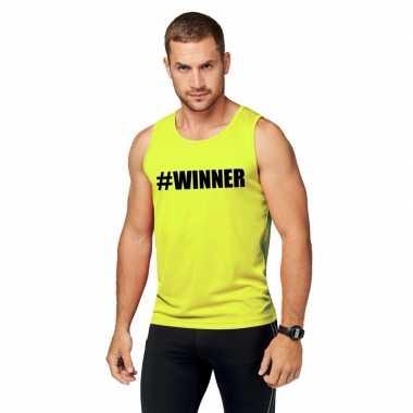 Goedkope sport shirt met tekst #winner neon geel heren