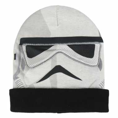 Goedkope star wars stormtrooper bivakmasker/muts voor jongens