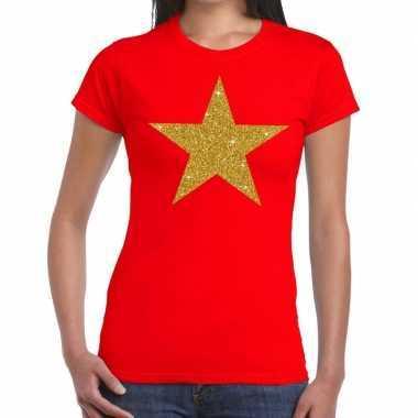 Goedkope ster goud fun t shirt rood voor dames