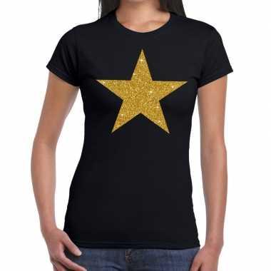 Goedkope ster van goud fun t shirt zwart voor dames
