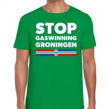 Goedkope stop gaswinning groningen protest t shirt groen voor heren
