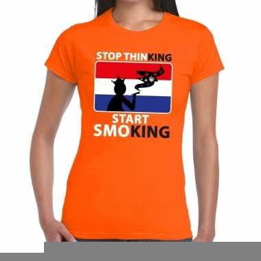 Goedkope stop thinking start smoking t shirt oranje dames