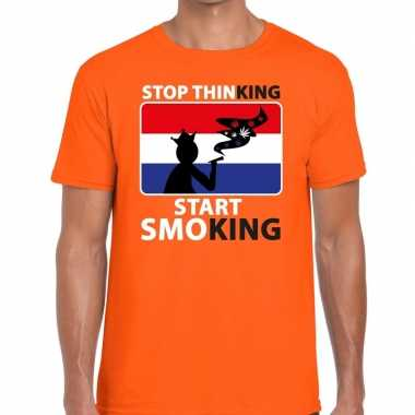 Goedkope stop thinking start smoking t shirt oranje heren