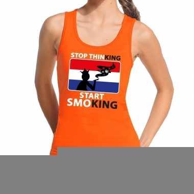 Goedkope stop thinking start smoking tanktop / mouwloos shirt oranje