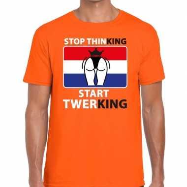 Goedkope stop thinking start twerking t shirt oranje heren