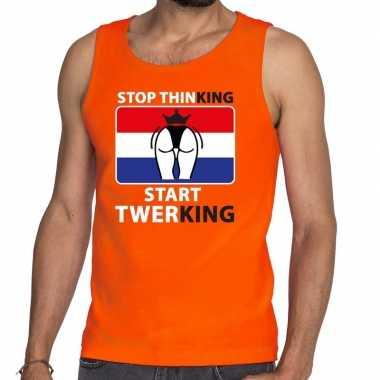 Goedkope stop thinking start twerking tanktop / mouwloos shirt oranje