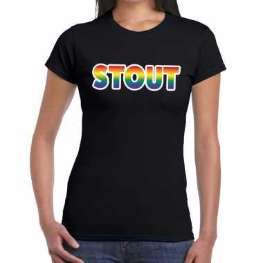Goedkope stout gaypride tekst/fun shirt zwart dames