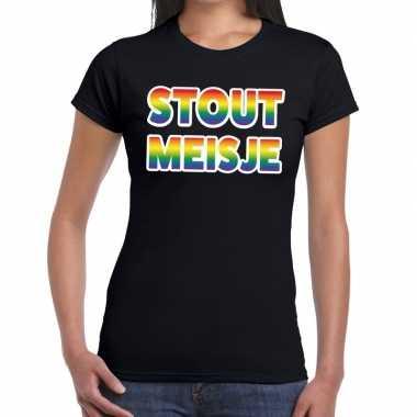 Goedkope stout meisje gaypride tekst/fun shirt zwart dames