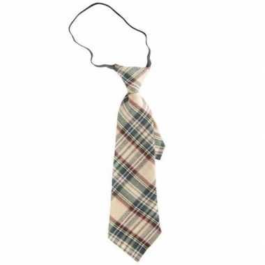 Goedkope stropdas met schotse ruit beige 30 cm voor volwassenen