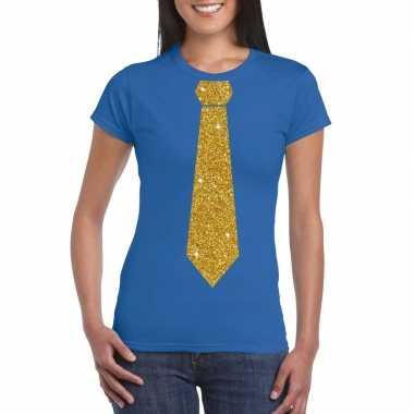 Goedkope stropdas t shirt blauw met glitter das dames