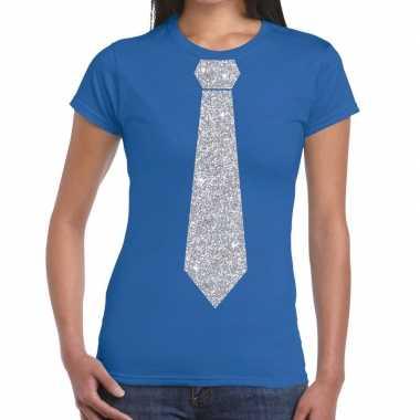 Goedkope stropdas t shirt blauw met zilveren glitter das dames