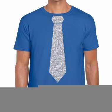 Goedkope stropdas t shirt blauw met zilveren glitter das heren