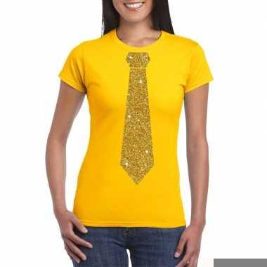 Goedkope stropdas t shirt geel met glitter das dames