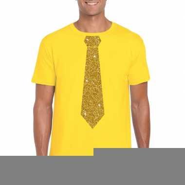 Goedkope stropdas t shirt geel met gouden glitter das heren