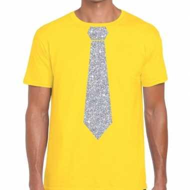 Goedkope stropdas t shirt geel met zilveren glitter das heren