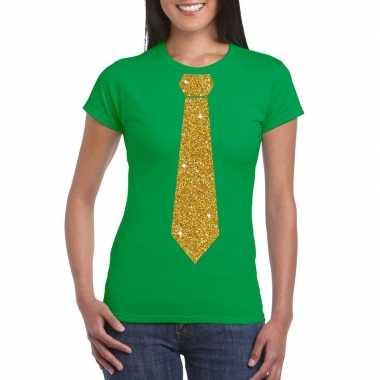 Goedkope stropdas t shirt groen met glitter das dames
