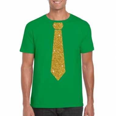Goedkope stropdas t shirt groen met gouden glitter das heren