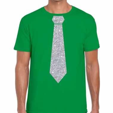 Goedkope stropdas t shirt groen met zilveren glitter das heren