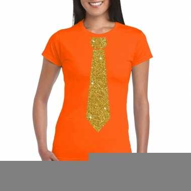 Goedkope stropdas t shirt oranje met glitter das dames