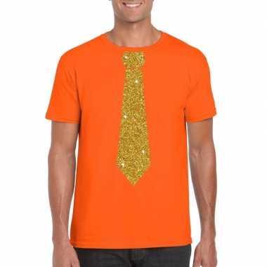 Goedkope stropdas t shirt oranje met gouden glitter das heren