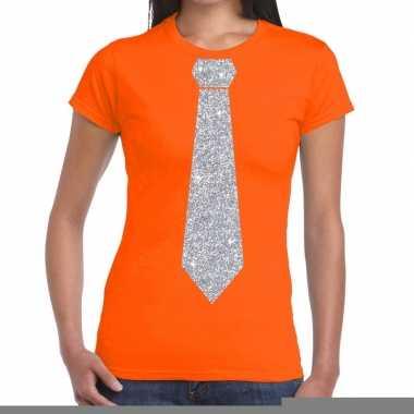 Goedkope stropdas t shirt oranje met zilveren glitter das dames