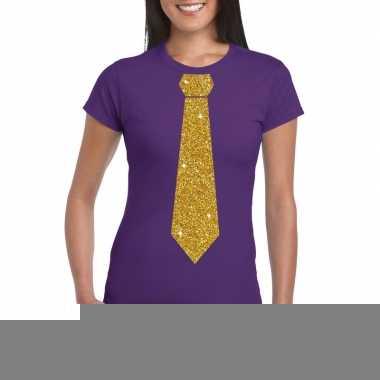 Goedkope stropdas t shirt paars met glitter das dames