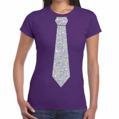 Goedkope stropdas t shirt paars met zilveren glitter das dames