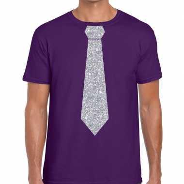 Goedkope stropdas t shirt paars met zilveren glitter das heren