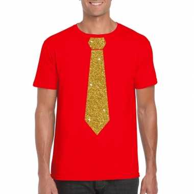 Goedkope stropdas t shirt rood met glitter das heren