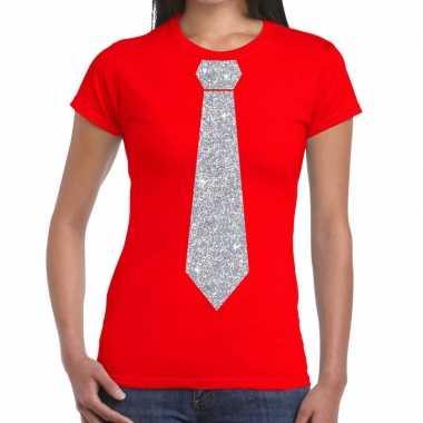 Goedkope stropdas t shirt rood met zilveren glitter das dames