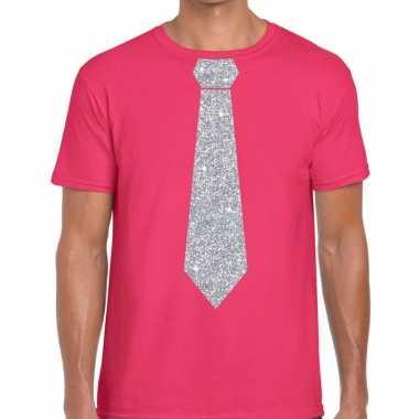 Goedkope stropdas t shirt roze met zilveren glitter das heren