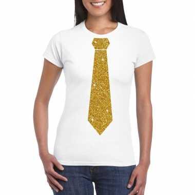 Goedkope stropdas t shirt wit met glitter das dames