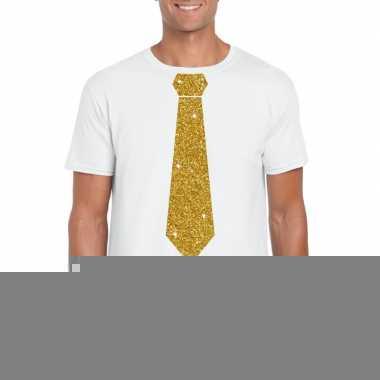 Goedkope stropdas t shirt wit met glitter das heren